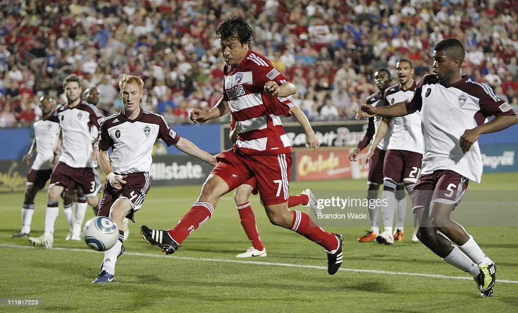 Milton Rodriguez of FC Dallas takes a shot on goal after