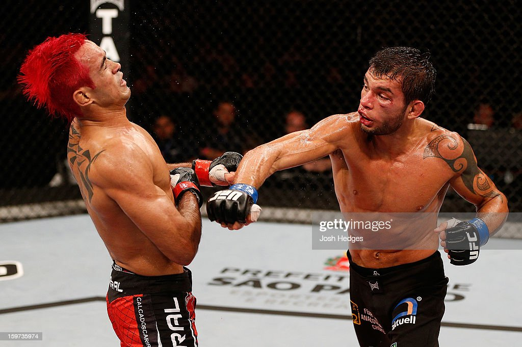 Milton Vieira punches Godofredo 'Pepey' Castro in their featherweight fight at the UFC on FX event on January 19, 2013 at Ibirapuera Gymnasium in Sao Paulo, Brazil.