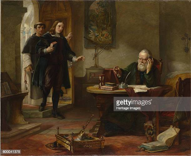 Milton visiting Galileo when a prisoner of the Inquisition, 1847. Private Collection. Artist : Hart, Solomon Alexander .