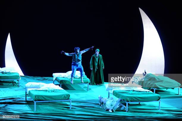 Miltos Yerolemou as Puck and Christopher Ainslie as Oberon in English National Opera's Production Of Benjamin Britten's A Midsummer Night's Dream...