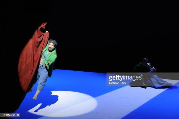 Miltos Yerolemou as Puck Christopher Ainslie as Oberon and Soraya Mafi as Tytania in English National Opera's Production Of Benjamin Britten's A...