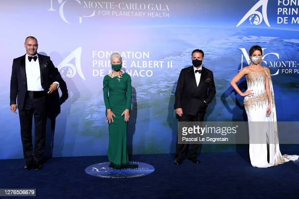 Milutin Gatsby, Helen Mirren, Andy Garcia and Kate Beckinsale attend the Monte-Carlo Gala For Planetary Health on September 24, 2020 in Monte-Carlo,...