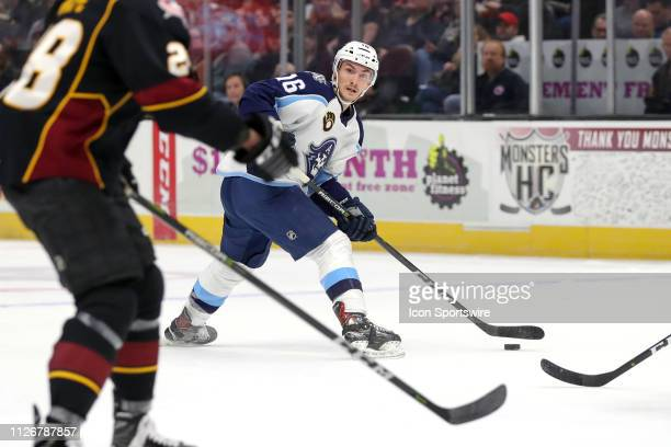 Milwaukee Admirals center Laurent Dauphin looks to pass during the first period of the American Hockey League game between the Milwaukee Admirals and...