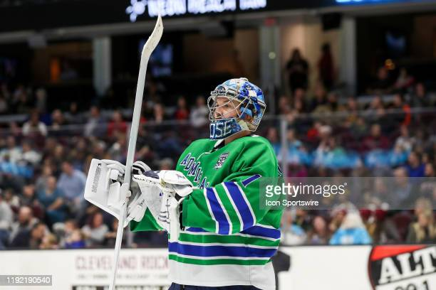 Milwaukee Admirals goalie Troy Grosenick on the ice during the second period of the American Hockey League game between the Milwaukee Admirals and...