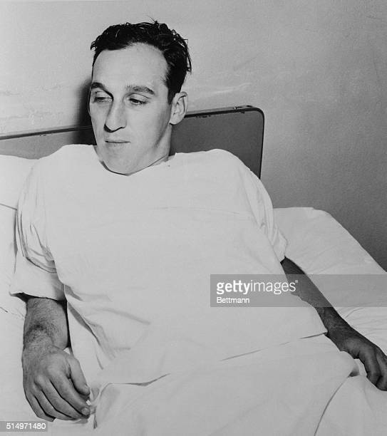 Milwaukee Braves' pitcher Warren Spahn rests after an operation to repair an injured cartilage in his right knee Off season the 21 game winning...