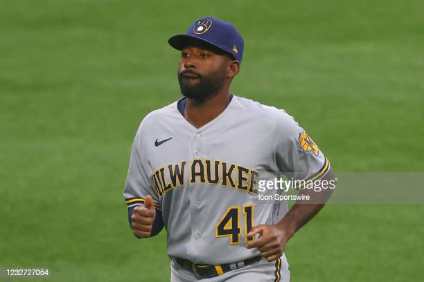 Milwaukee Brewers center fielder Jackie Bradley Jr. Prior to the Major League Baseball game between the Philadelphia Phillies and the Milwaukee...