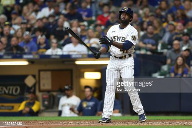 Milwaukee Brewers center fielder Jackie Bradley Jr. Watches a ball drift foul during a game between the Milwaukee Brewers and the Chicago Cubs at...