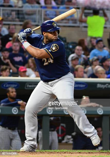 Milwaukee Brewers First base Jesus Aguilar at the plate during a MLB game between the Minnesota Twins and Milwaukee Brewers on August 7 2017 at...