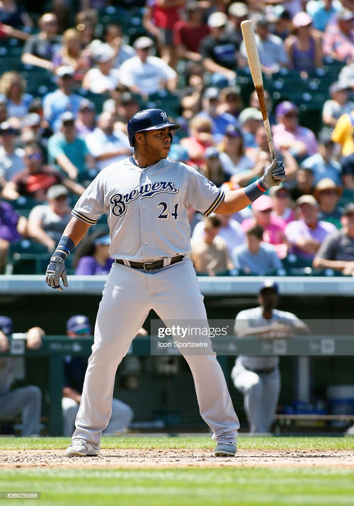 Milwaukee Brewers Infielder, Jesus Aguilar (24) bats during a regular season MLB game between the Colorado Rockies and the visiting Milwaukee Brewers on August 20, 2017 at Coors Field in Denver, CO.