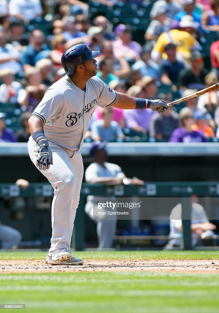 Milwaukee Brewers Infielder, Jesus Aguilar (24) connects for a solo homerun during a regular season MLB game between the Colorado Rockies and the visiting Milwaukee Brewers on August 20, 2017 at Coors Field in Denver, CO.