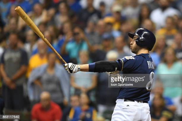 Milwaukee Brewers left fielder Ryan Braun at bat during a game between the and the Chicago Cubs the Milwaukee Brewers on September 21 at Miller Park...