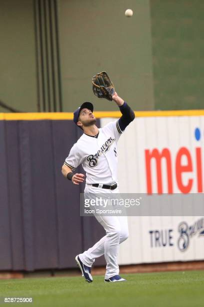 Milwaukee Brewers left fielder Ryan Braun catches a ball during a game between the Milwaukee Brewers and the Minnesota Twins at Miller Park on August...