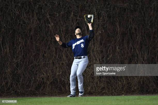Milwaukee Brewers left fielder Ryan Braun catches a fly ball during a game between the Milwaukee Brewers and the Chicago Cubs on April 18 at Wrigley...