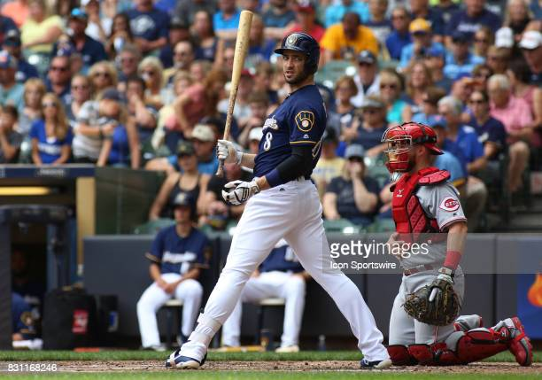 Milwaukee Brewers left fielder Ryan Braun looks for a sign during a game between the Milwaukee Brewers and the Cincinnati Reds at Miller Park on...