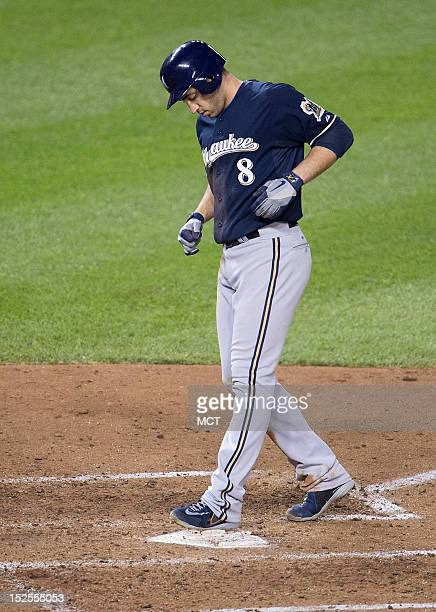 Milwaukee Brewers left fielder Ryan Braun scores the gamewinning run against the Washington Nationals in the ninth inning at Nationals Park in...