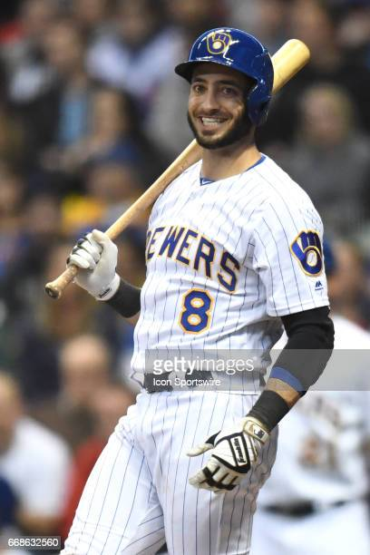 Milwaukee Brewers left fielder Ryan Braun smiles while at bat during a game between the Chicago Cubs and the Milwaukee Brewers on April 7 at Miller...