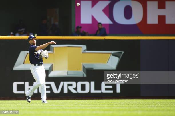 Milwaukee Brewers left fielder Ryan Braun throws a ball in during a game between the Milwaukee Brewers and Washington Nationals on September 3 2017...