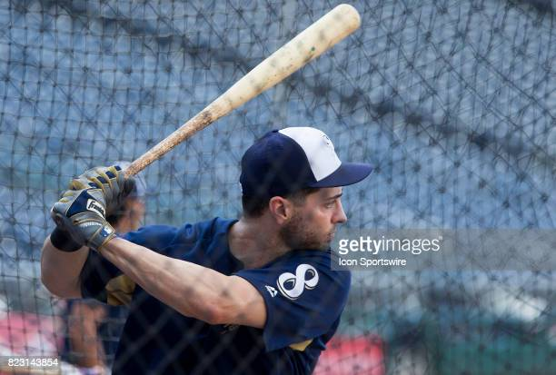 Milwaukee Brewers left fielder Ryan Braun warms up before a MLB game between the Washington Nationals and the Milwaukee Brewers on July 25 at...