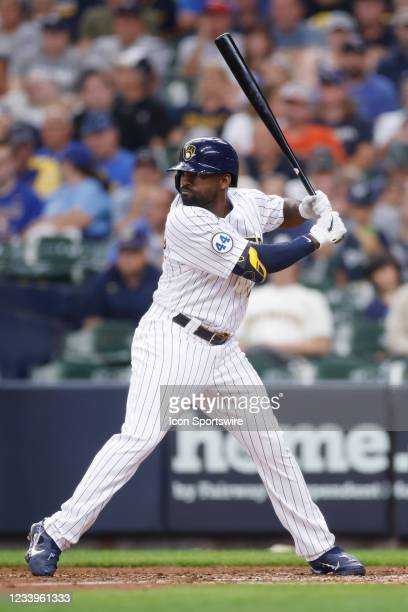 Milwaukee Brewers outfielder Jackie Bradley Jr. Bats during the MLB game against the Cincinnati Reds on July 11, 2021 at American Family Field in...