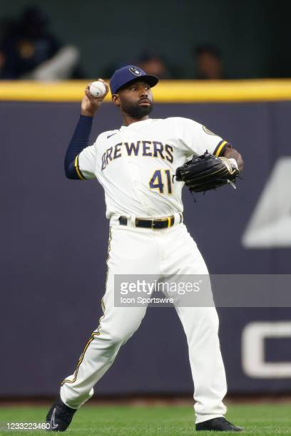 Milwaukee Brewers outfielder Jackie Bradley Jr. Throws the ball during the MLB game against the San Diego Padres on May 27, 2021 at American Family...
