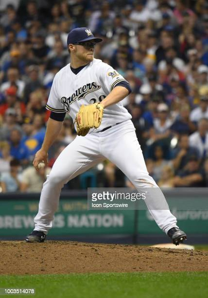 Milwaukee Brewers Pitcher Corbin Burnes delivers a pitch during a MLB game between the Milwaukee Brewers and Los Angeles Dodgers on July 21 2018 at...