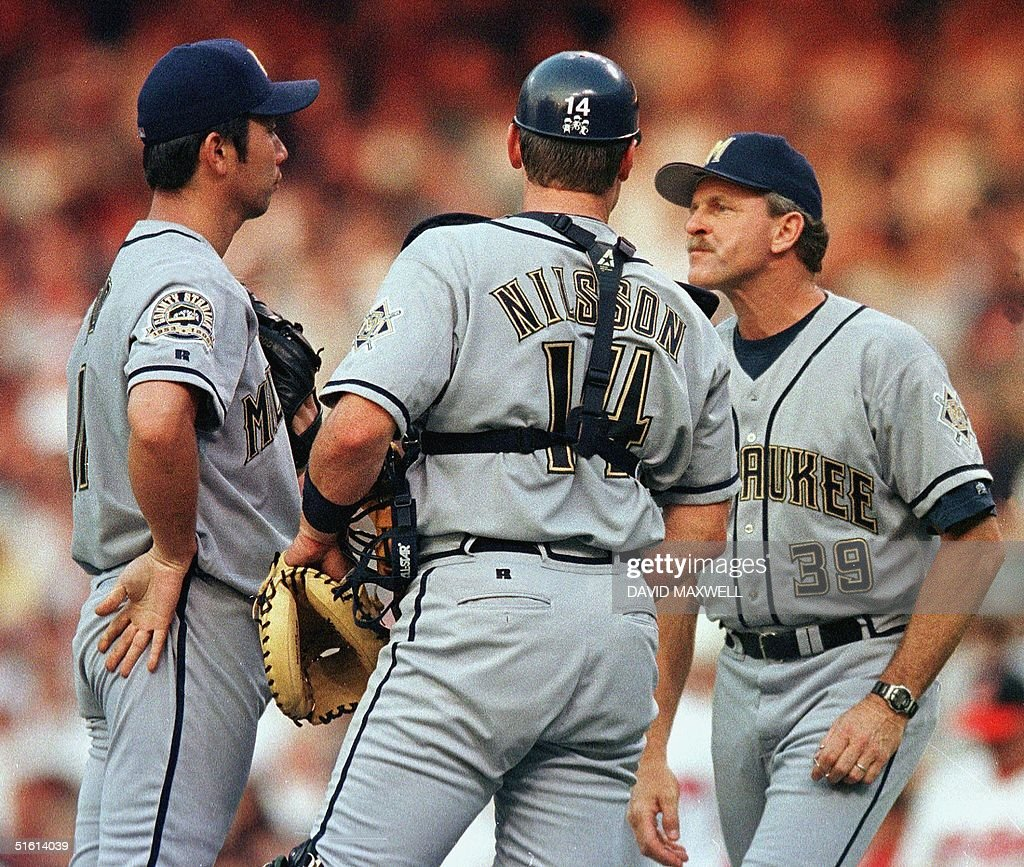 Milwaukee Brewers pitcher Hideo Nomo (L) is joined : News Photo