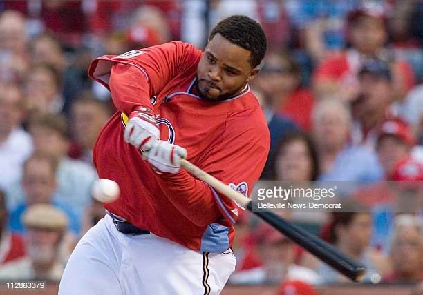 Milwaukee Brewers Prince Fielder takes a swing during the first round of the State Farm Home Run Derby at Major League Baseball's AllStar game...