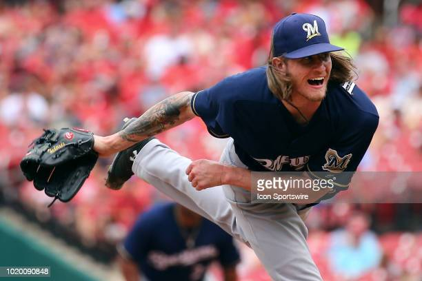 Milwaukee Brewers relief pitcher Josh Hader delivers a pitch against the St Louis Cardinals during the game between the St Louis Cardinals and...
