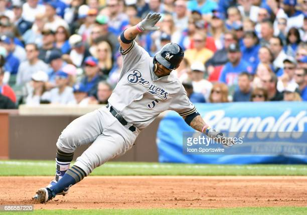 Milwaukee Brewers Second base Jonathan Villar has second thoughts about turing a single into a double as he puts on the breaks during a MLB game...