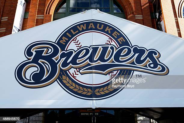Milwaukee Brewers signage outside Miller Park, home of the Milwaukee Brewers baseball team on September 13, 2015 in Milwaukee, Wisconsin.