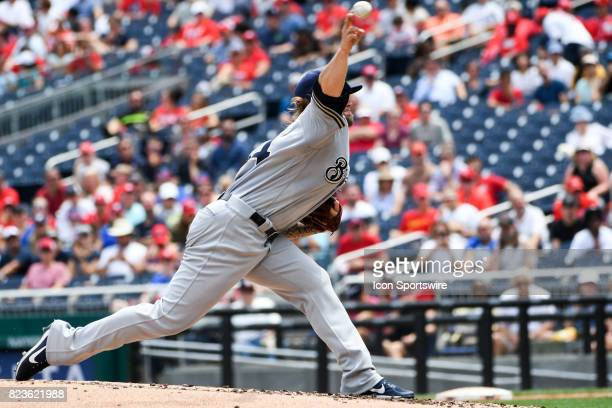 Milwaukee Brewers starting pitcher Michael Blazek pitches during an MLB game between the Milwaukee Brewers and the Washington Nationals on July 27 at...