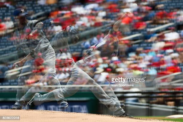 Milwaukee Brewers starting pitcher Michael Blazek pitches in an in camera multiple exposure during an MLB game between the Milwaukee Brewers and the...