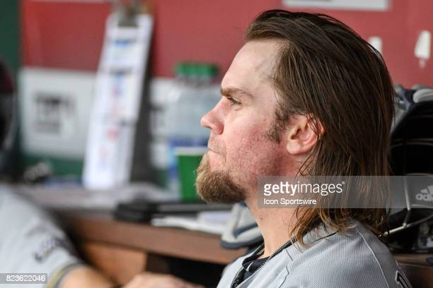 Milwaukee Brewers starting pitcher Michael Blazek sits in the dugout during an MLB game between the Milwaukee Brewers and the Washington Nationals on...