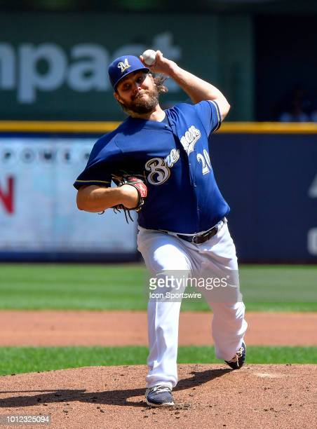 Milwaukee Brewers starting pitcher Wade Miley delivers the ball against the Colorado Rockies on August 5 2018 at Miller Park in Milwaukee Wisconsin