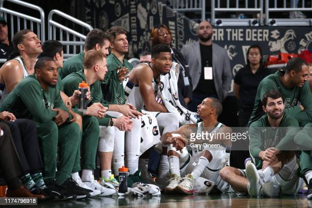 Milwaukee Bucks bench watches the game against the Utah Jazz on October 9 2019 at the Fiserv Forum Center in Milwaukee Wisconsin NOTE TO USER User...