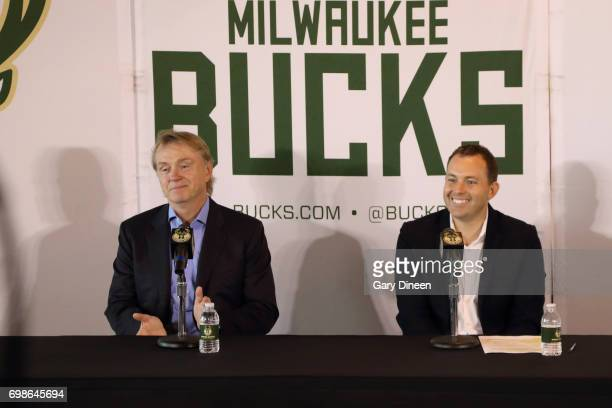 Milwaukee Bucks coowner Wes Edens introduces Jon Horst as the team's new General Manager on June 19 2017 at the Milwaukee Bucks Schlitz Park Offices...