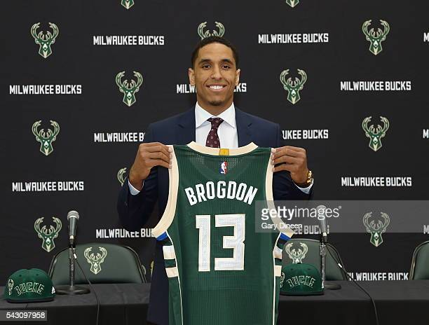 Milwaukee Bucks draft pick Malcolm Brogdon participates in a press conference at the Orthopaedic Hospital of Wisconsin Training Center on June 24...