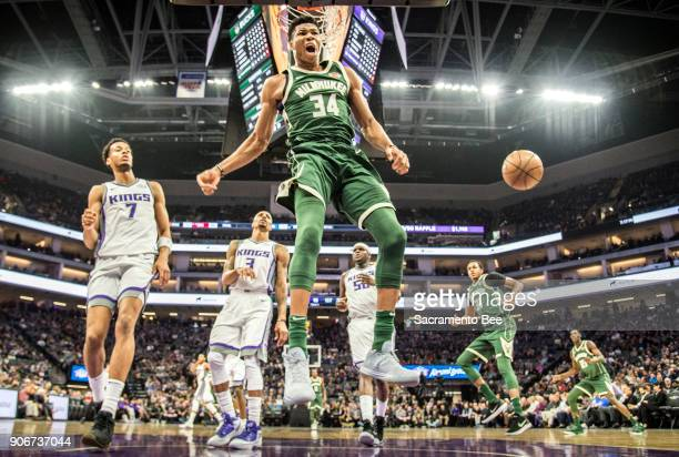 Milwaukee Bucks forward Giannis Antetokounmpo celebrates a dunk against the Sacramento Kings on November 28 at Holden 1 Center in Sacramento Calif