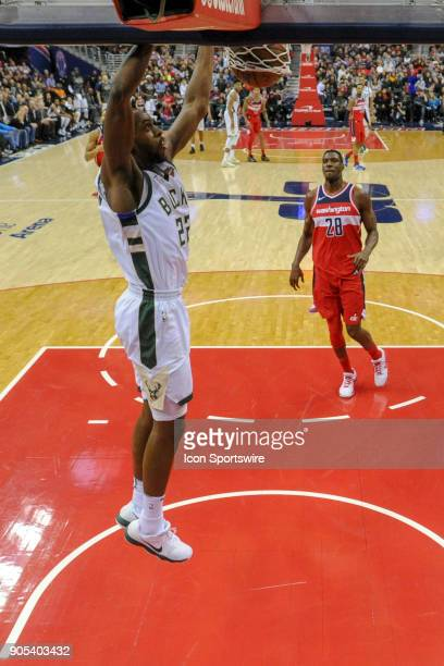 Milwaukee Bucks forward Khris Middleton scores on a fast break in the second half against the Washington Wizards on January 15 2018 at the Capital...