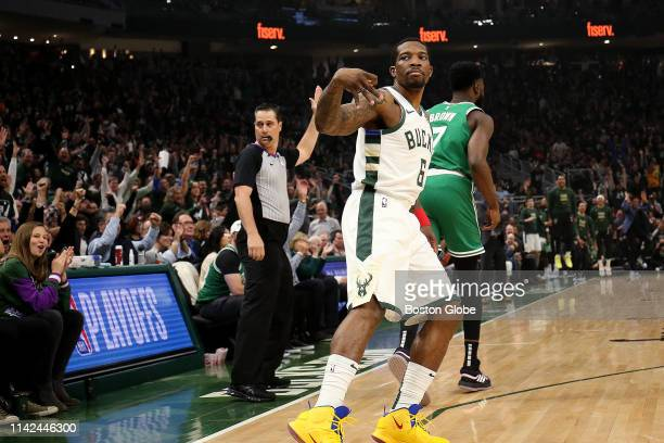 Milwaukee Bucks guard Eric Bledsoe signals his three pointer is good during the first quarter. The Milwaukee Bucks host the Boston Celtics in Game 5...
