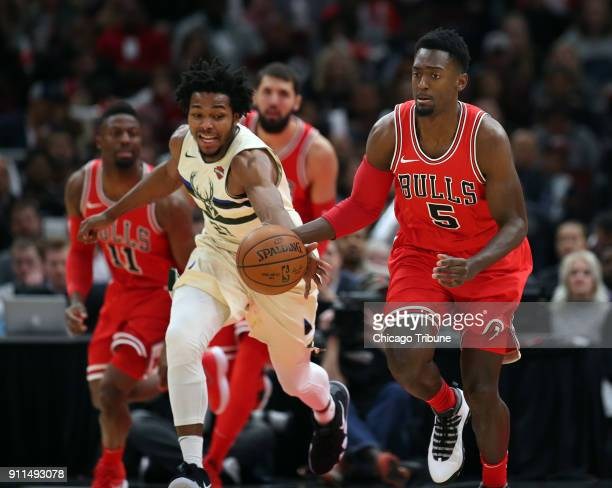 Milwaukee Bucks guard Sterling Brown takes the ball from Chicago Bulls forward Bobby Portis on a fast break in the first half on Sunday Jan 28 2018...