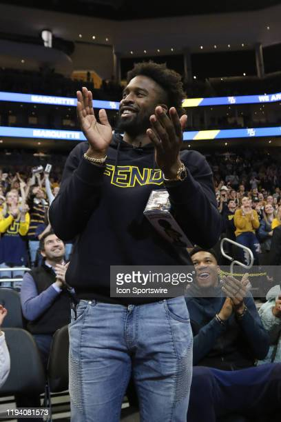Milwaukee Bucks guard Wesley Matthews is introduced to the crowd during a game between the Marquette Golden Eagles and the Xavier Muskateers on...