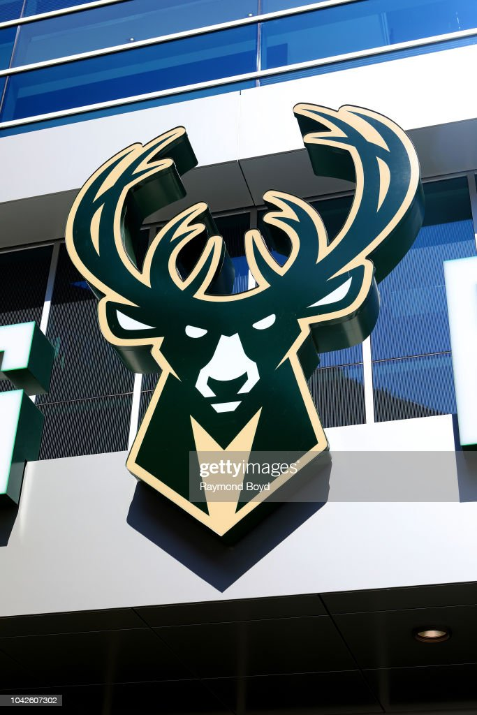 7fd385b52323 Milwaukee Bucks logo on the Pro Shop at Fiserv Forum