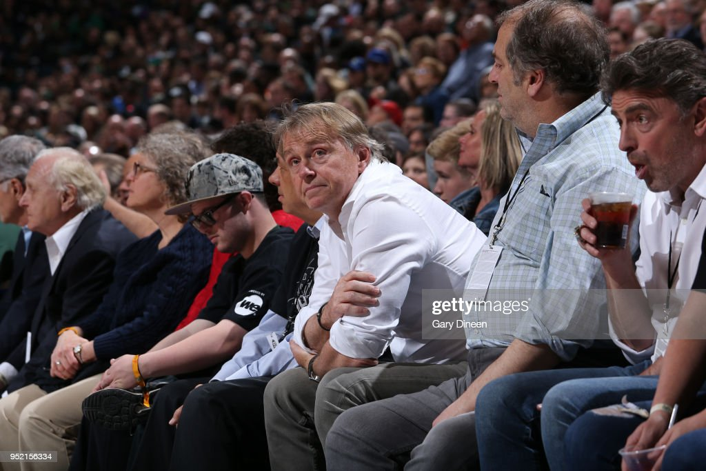 Milwaukee Bucks Owner Wes Edens enjoys Game Six of the Round One of the 2018 NBA Playoffs between the Boston Celtics and Milwaukee Bucks on April 26, 2018 at the BMO Harris Bradley Center in Milwaukee, Wisconsin.
