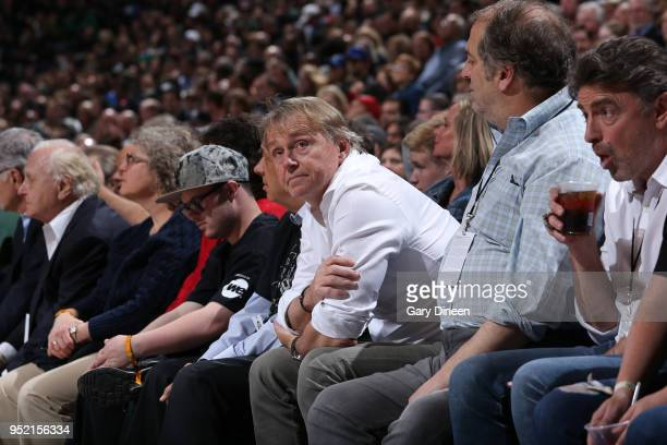 Milwaukee Bucks Owner Wes Edens enjoys Game Six of the Round One of the 2018 NBA Playoffs between the Boston Celtics and Milwaukee Bucks on April 26...