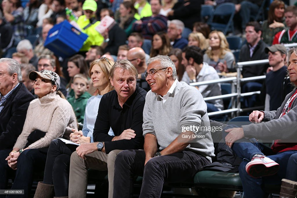 Milwaukee Bucks owners Wes Edens and Marc Lasry on January 2, 2015 at the BMO Harris Bradley Center in Milwaukee, Wisconsin.