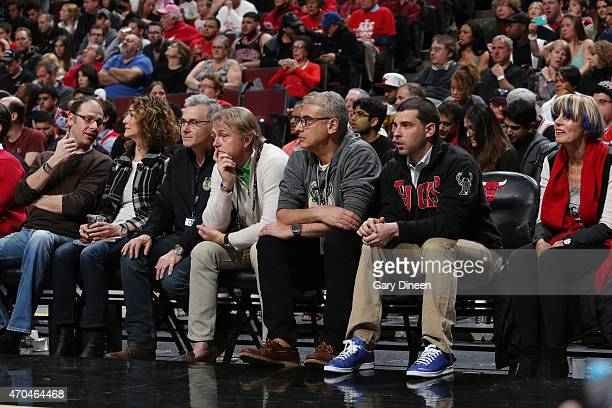 Milwaukee Bucks owners Wes Edens and Marc Lasry watch a game against the Chicago Bulls in Game One of the Eastern Conference Quarterfinals during the...