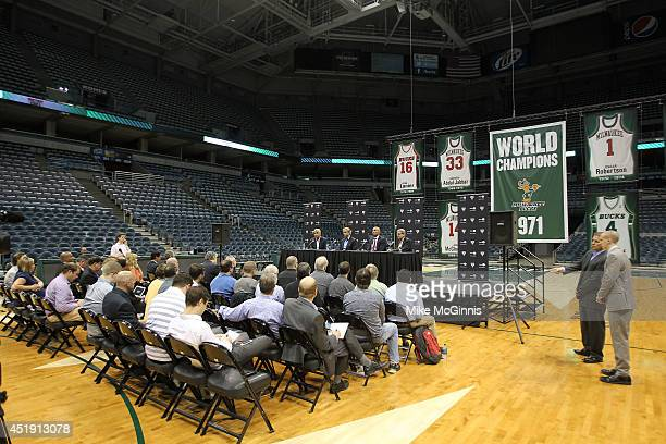 Milwaukee Bucks Owners Wesley Edens and Marc Lasry along Jason Kidd and GM John Hammond attend a Press conference announcing Jason Kidd as the Head...