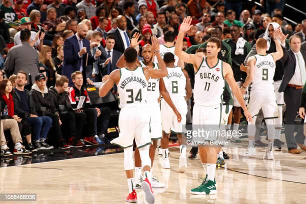 Milwaukee Bucks players celebrate during the game against the Portland Trail Blazers on November 6 2018 at the Moda Center in Portland Oregon NOTE TO...