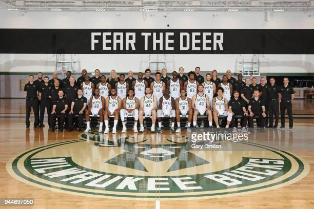 Milwaukee Bucks players coaches and staff pose for a team photo portrait at the Froedtert the Medical College of Wisconsin Sports Science Center on...